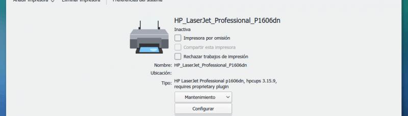 Impresora Manjaro